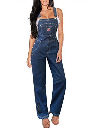 Revolt Women's Classic Denim Bib Overalls PVJ6126. MEDIUM BLU L