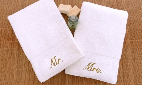 picture of Linum Home Textiles Mr. and Mrs. Hand Towels (Set of 2), White/Blue, One Size