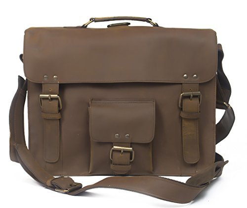 Pranjals House 15 Inch Retro Crazy Hunter Leather Laptop Messenger Bag Office Briefcase College Bag