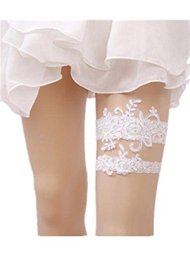 Bhwin Rhinestones Lace Wedding Bridal Garter Belt Set (C) (Lace Bridal Garter Set)