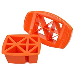 FunBites, Food Cutter Set Creates Bite-sized Shapes Kids Can't Resist – Set of 2 (Green Squares / Orange Triangles)