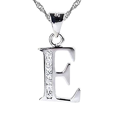 Sojewe Women 925 Sterling Silver Alphabet Letter J Necklace Inlay Cubic Zirconia Pendant Platinum Plated Chain 40-45cm/15.7-17.7in xIBZiH
