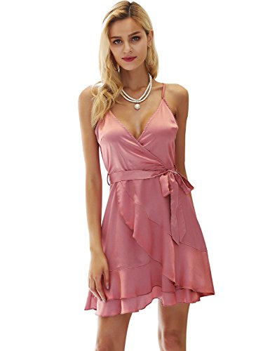 Simplee Women's Sexy Satin Deep V Neck Backless Mini Party Evening (Pink Satin Party Dress)
