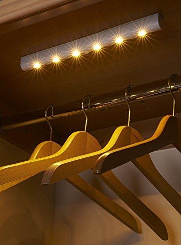 Auraglow Automatische LED-Lichtleiste Bewegungsmelder Kabelloses superhelles mit 6 LEDs - Warmes Weiss - 2 Stück