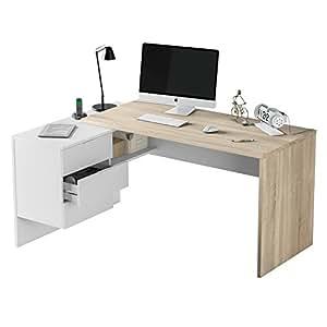 Habitdesign 0F4655A - Mesa Office, Mesa despacho Ordenador Modelo BUC 3 cajones, Color Blanco Artik y Roble Cananadian …