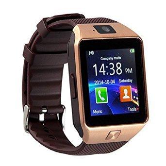 Smartwatch DZ09 Relógio Inteligente Bluetooth Gear Chip Android iOS Touch Faz e atende ligações SMS Pedômetro Câmera - DOURADO