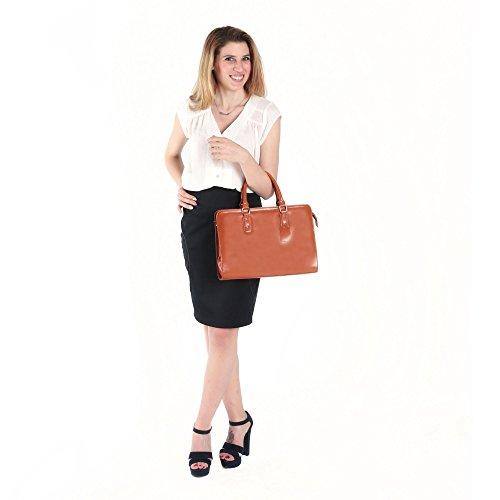 Maletín de cuero italiano, bolso de mano Cartel, Mujer Made in Italy 35x26x11 Cm Cuero