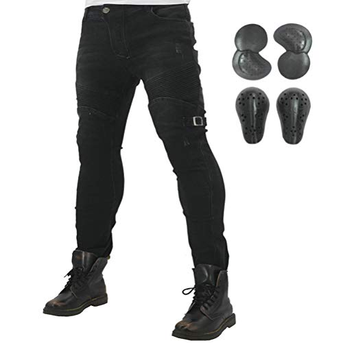 2019 Waterproof Men Motorcycle Riding Jeans With 4 x Armor Knee Hip Protectors (XL) (Best Kevlar Jeans 2019)