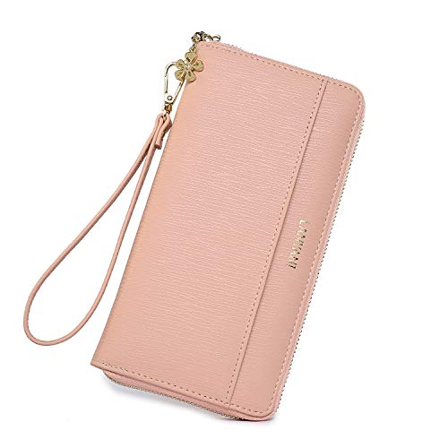 - Women large Wallet bifold soft leather wristlet Card Organizer Phone holder Ladies Clutch Long Purse with Wrist Strap