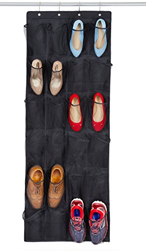 Shoe Organizer, Over The Door Closet Storage Rack | 24 Extra Large Pockets & 4 Strong Hooks for Easy Hanging | Black Holder That's Perfect For Small Spaces by Bilpa