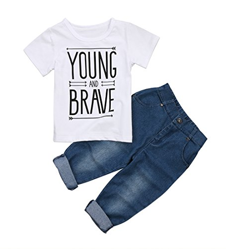 Toddler Kids Baby Boy T-Shirt Tops Denim Pants Trousers Outfits Clothes Set 2Pcs (12-18 Months, White) -
