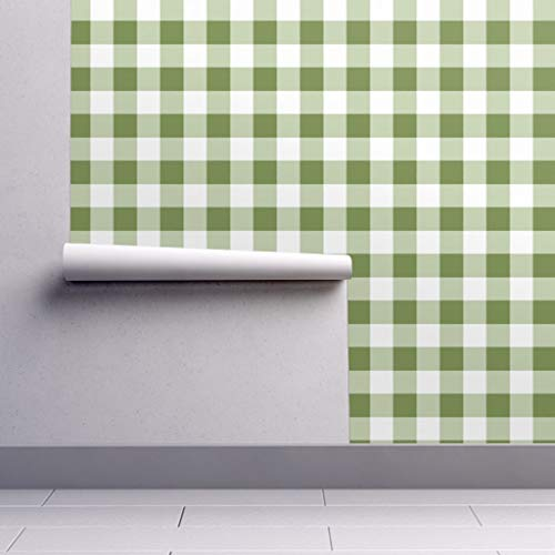 Peel-and-Stick Removable Wallpaper - Buffalo Plaid Buffalo Plaid Check Green White by Domesticate - 12in x 24in Woven Textured Peel-and-Stick Removable Wallpaper Test Swatch ()