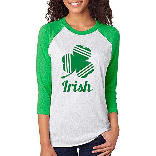 Freesooth St Patrick's Day Irish Shamrock Women 3/4 Sleeve Baseball Jersey Shirt Unisex Raglan T-Shirt Green