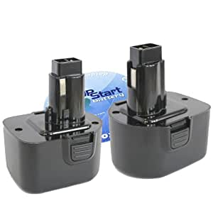 2-Pack DeWalt DC756KA Battery - Replacement DeWalt 12V Battery (1300mAh, NICD)