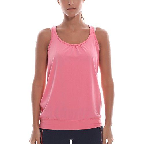 SYROKAN - Camiseta Deportiva de Tirantes Para Mujer Rosado