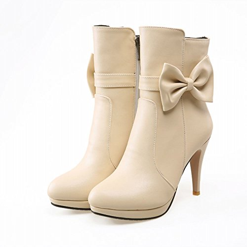 Latasa Womens Cute Sweet Bow Zipper Platform High-heel Ankle-high Dress Boots, Wedding Party Boots apricot