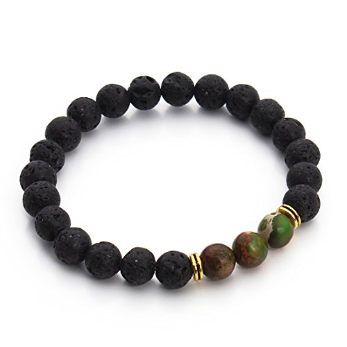 Green Jasper Bracelet (Linsoir Beads Sea Sediment Jasper and Black Lava Rock Essential Oil Diffusing Stretch Bracelet 7.5'')