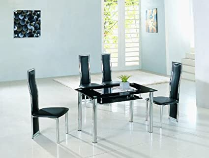 Mesa de comedor grande diseño italiano Rimini - cristal negro - 135 ...