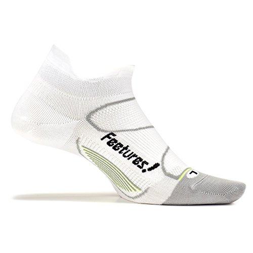 Feetures! Men's Elite Ultra Light No Show Tab, White + Black, - Elite Men