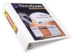 Avery Touchguard Antimicrobial View Binder with 2 Inch One Touch EZD Ring, White (17143)