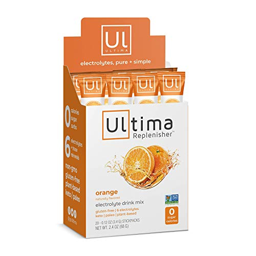 Orange 16 Ounce Powder - Ultima Replenisher Electrolyte Hydration Powder, Orange, 20 Count Stickpacks - Sugar Free, 0 Calories, 0 Carbs - Gluten-Free, Keto, Non-GMO with Magnesium, Potassium, Calcium