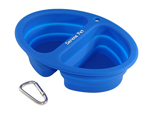 Serene Pet Collapsible Dog Bowls - 2-in-1 for Food and Water, With Carabiner, Travel Dog Bowl for Medium and Large Size Pets, Food Grade Silicone, FDA Approved, Big Cat Dish