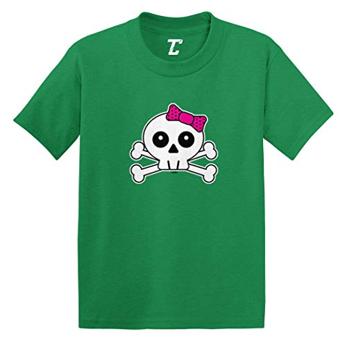 Skull with Pink Bow - Crossbones Infant/Toddler Cotton Jersey T-Shirt (Kelly, 12 Months) -
