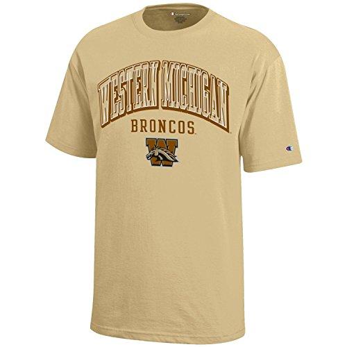 (Champion NCAA Western Michigan Broncos Youth Boys Short Sleeve Jersey T-Shirt, Medium, Gold)