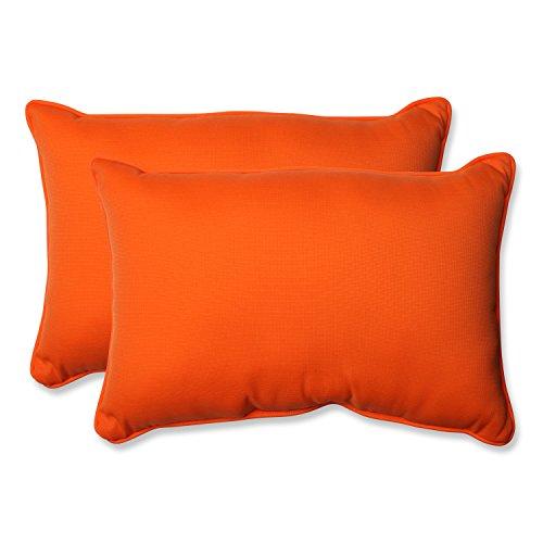 Pillow Perfect Indoor/Outdoor Sundeck Corded Oversized Rectangular Throw Pillow, Orange, Set of 2 (Throw Pillow Oversized)