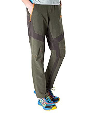 Men's Olive Durable Tactical Pants with flexible Belt and Zip Pockets by Makino(Olive W28/L29)