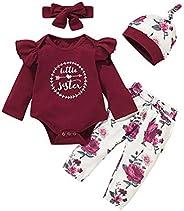Tmtop 4pcs Baby Girls Jumpsuit Fashion Cotton Outfits Ruffled Jumpsuit + Floral Pants + Headband + Hat