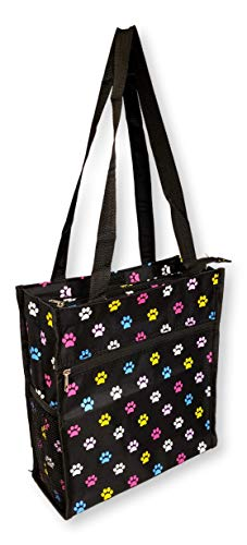 12 in by 13 in Tote Bag w/Mesh Water Bottle Pocket (Multi Color Paws) ()