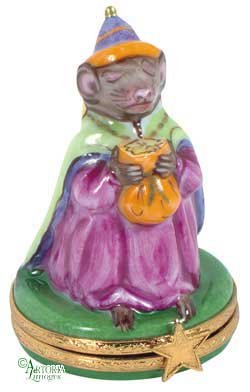 Box Limoges Rochard Trinket - Artoria Limoges: Collectible, Hinged Porcelain Trinket Box - Christmas Wiseman (Mouse), Authentic French Giftware, Handcrafted in Limoges, France