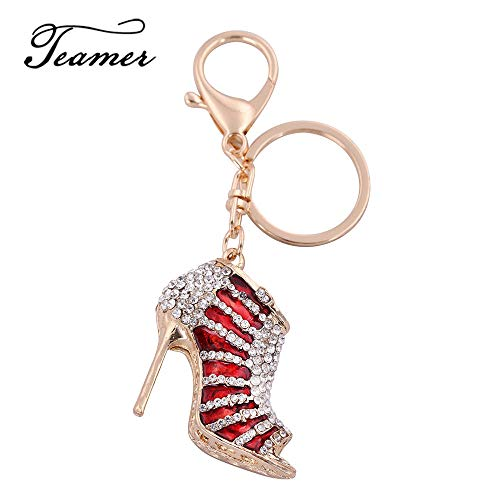 Key Chains - Colorful Enamel Keyring Gifts for Women Red Purple Drip Oil Key Chain Luxuy Crystal High-Heeled Shoes Keychain Gold Color - by ptk12-1 PCs