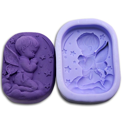 Summer Fairy Lace Wings - Praying baby with fairy wings soap mold