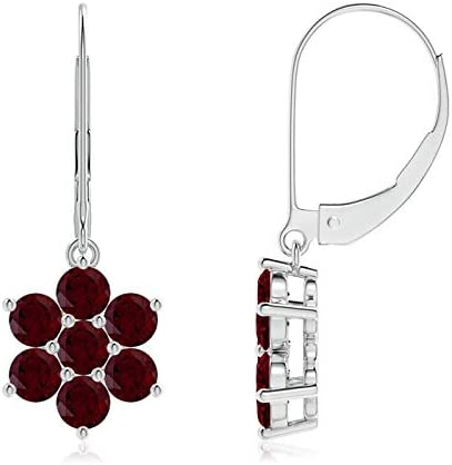 Dangle Earrings wFacet Cut Blue Quartz  Disc Bead around Oval AAA Grade Blood Red Garnet Drop and Facet Cut Pave Set Spacer