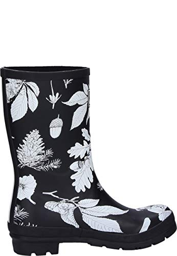 Black Imprimé z Joules Molly Womens Etched Short Welly Botanical Ywztzpq