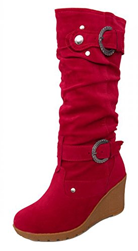 CHFSO Womens Stylish Waterproof Suede Slouchy Heighten Mid Wedge Heel Mid Calf Pull On Winter Boots Red ovdpLItD
