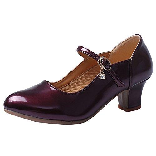Heel Azbro Kitten Correa Tobillo Mujer de de Baile Púrpura Moda Zapatos 7nWUWwxT