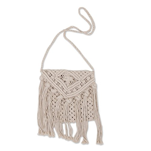 Natural Cotton Shoulder Bag (NOVICA Beige Cotton Shoulder Bag, 'Natural Pasuruan')