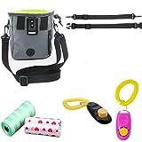 Fully 1x Dog Training Treat Storage Holder Pouch with Adjustable Waist & Shoulder Strap + 2X Clicker + 2X Waste Poop Bag (15x6x18cm/5.9x2.36x7.1, Grey)