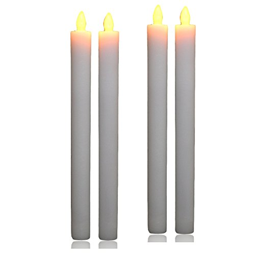 Banberry Designs Taper Candles - Set of 4 White Candlestick LED Candles - Flameless Candles with Timer - 9.75'' H by Banberry Designs