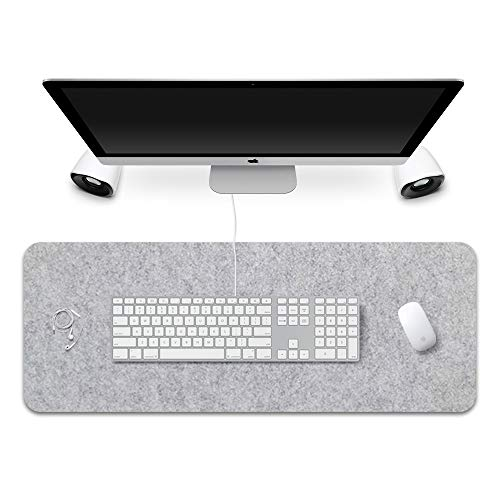 FireBee Extended Gaming Mouse Pad Non-Slip Desk Pad Protector Office Writing Mat Felt Base 0.12 Inch Thick (Light Gray)