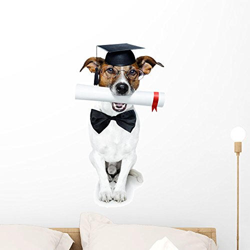 Graduated Dog with Diploma Wall Decal by Wallmonkeys Peel and Stick Graphic (24 in H x 16 in W) - Spectacles Promotion