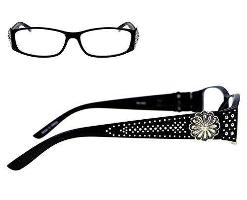 Montana West JP Studded Flower Concho Reading Eye Glasses Silver Black (Black, 2.25)