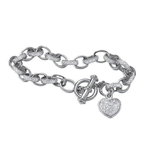 (White Diamond Accent Platinum over .925 Sterling Silver Heart Charm Bracelet 7.25