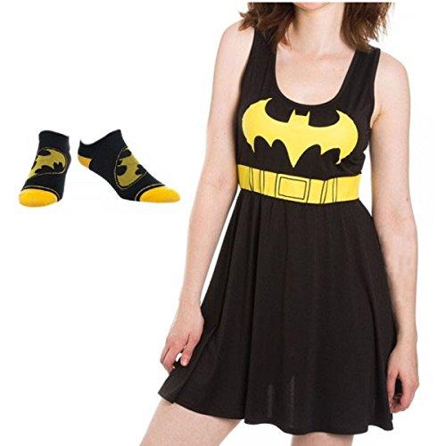 [Batman Logo Womens' Juniors Dress and No-Show Socks - 2 Piece Gift Set (Medium)] (Batman Dress Socks)