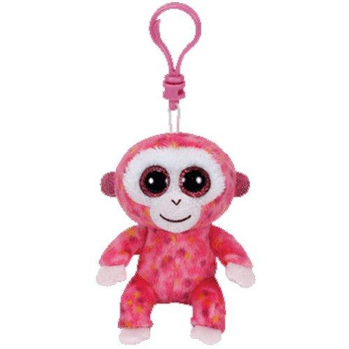 TY Beanie Boos - RUBY the Pink Monkey (Glitter Eyes) (Plastic Key Clip 3 inch)