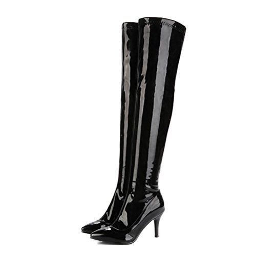 Knee Agodor Boots High High Heels Black Leather The Womens With Patent Over Stiletto zip qwBWtarB