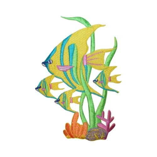ID 5001 Tropical Fish Large Patch Aquarium Tank Pet Embroidered Iron On Applique.You've seen them on jackets, jeans, shirts, backpacks, even sneakers Tropical Fish Embroidery